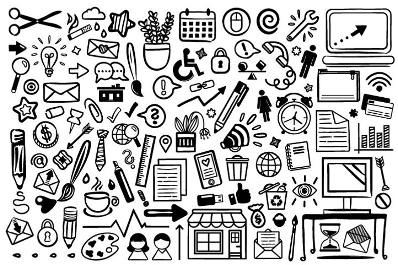 Office Doodle Clip Art Set  PNG SVG VECTOR Fun Drawings Hand image 0