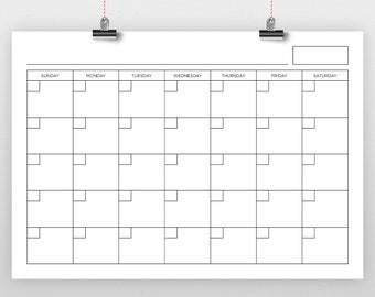 A4 210 x 297 mm Blank Calendar Page Template   INSTANT DOWNLOAD   Includes S-S or M-S Monthly Printable Desk Wall Calender Print Ready