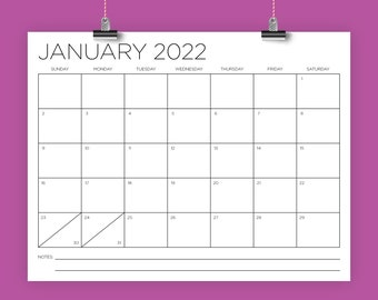 8.5 x 11 Inch 2022 Calendar Template   INSTANT DOWNLOAD   Modern Thin Sans Serif Type Monthly Printable Desk Wall Calender   Print Ready