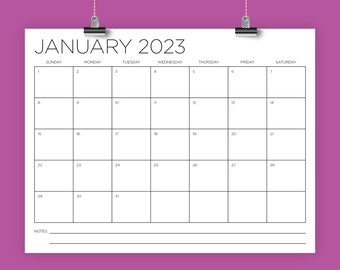 8.5 x 11 Inch 2023 Calendar Template   INSTANT DOWNLOAD   Modern Thin Sans Serif Type Monthly Printable Desk Wall Calender   Print Ready