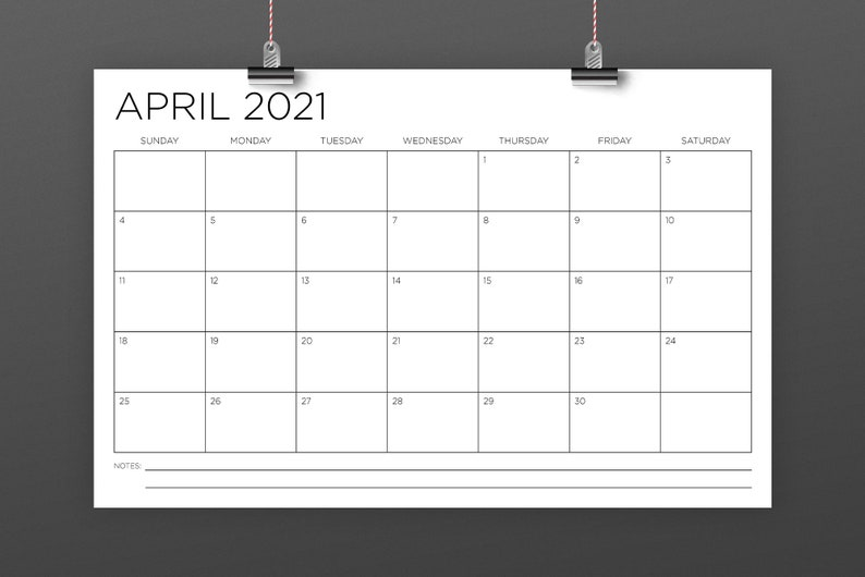 11 x 17 Inch 2021 Calendar Template INSTANT DOWNLOAD Thin ...