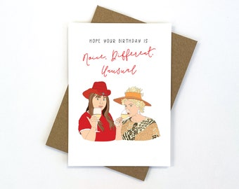 Kath and Kim Birthday Card   Australian Made   Blank Inside   Envelope Included