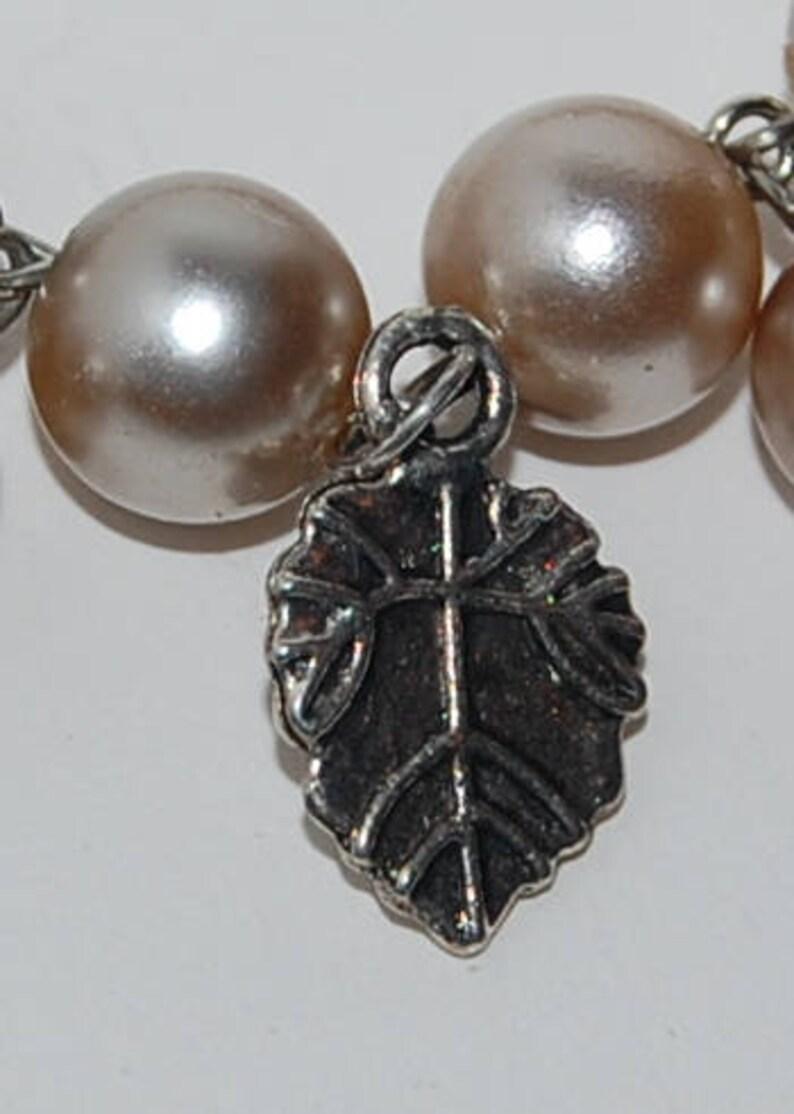 Gray pearl charm bracelet