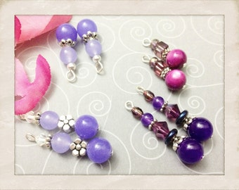 Beautiful Purple Jade and Crystal Filigree Czech Glass and Beaded Drops for Jewelry Making by Jules Jewelry Box