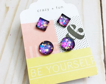 Cosmic blue and purple studs, hypo-allergenic, metal Free, 7mm square & 10mm round, glass, studs, plastic post by Jules Jewelry Box