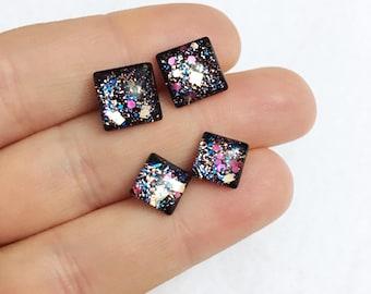 Square, black, cosmic glitter studs, hypo-allergenic, metal Free, 7mm square & 12mm, glass, studs, plastic post by Jules Jewelry Box