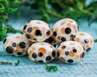 Leopard skin_wild safari bead_lampwork glass_ivory brown black_OOAK organic_dotted pattern_13 mm round_animal print_cheetah African cat