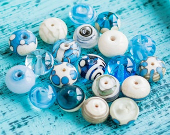 Perle intercalaire set_small 10 mm_turquoise ivory_sky mer blue_transparent milk_artisan au chalumeau glass_set de 10_tiny mer spacers_multipurpose bricolage