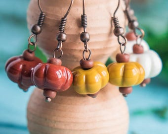 Minuscule automnales earrings_puffy organic_mustard yellow_terracotta rouge ivory_artisan au chalumeau glass_tribal boho_child bijoux de fille
