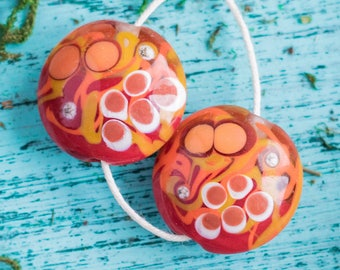 Beads_big rouge orange de lentilles shaped_artisan lampwork_set de two_abstract pattern_20 mm Perle pair_autumn en pointillés colors_multipurpose bricolage d'automne