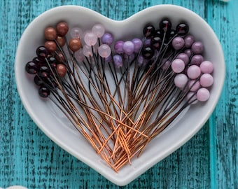 Glass ball pins_solid copper headpins_set of 70_violet rose headpins_artisan lampwork glass_4 mm ball pins_purple pink ballpins_4 cm long