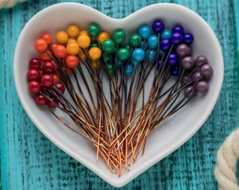 Glass ball pins_solid copper headpins_set of 70_rainbow headpins_artisan lampwork glass_ooak lampwork ball pins_rainbow ballpins