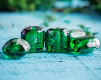 Emerald green bead_murano glass_artisan lampwork_sterling silver_dark green pillow_middle 12 mm_abstract minimalist_multipurpose DIY kit