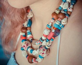 Turquoise coral necklace_teal blue ivory_artisan lampwork glass_textile ceramic_tribal gypsy Strega_boho chic bohemian_Mexico Frida Kahlo