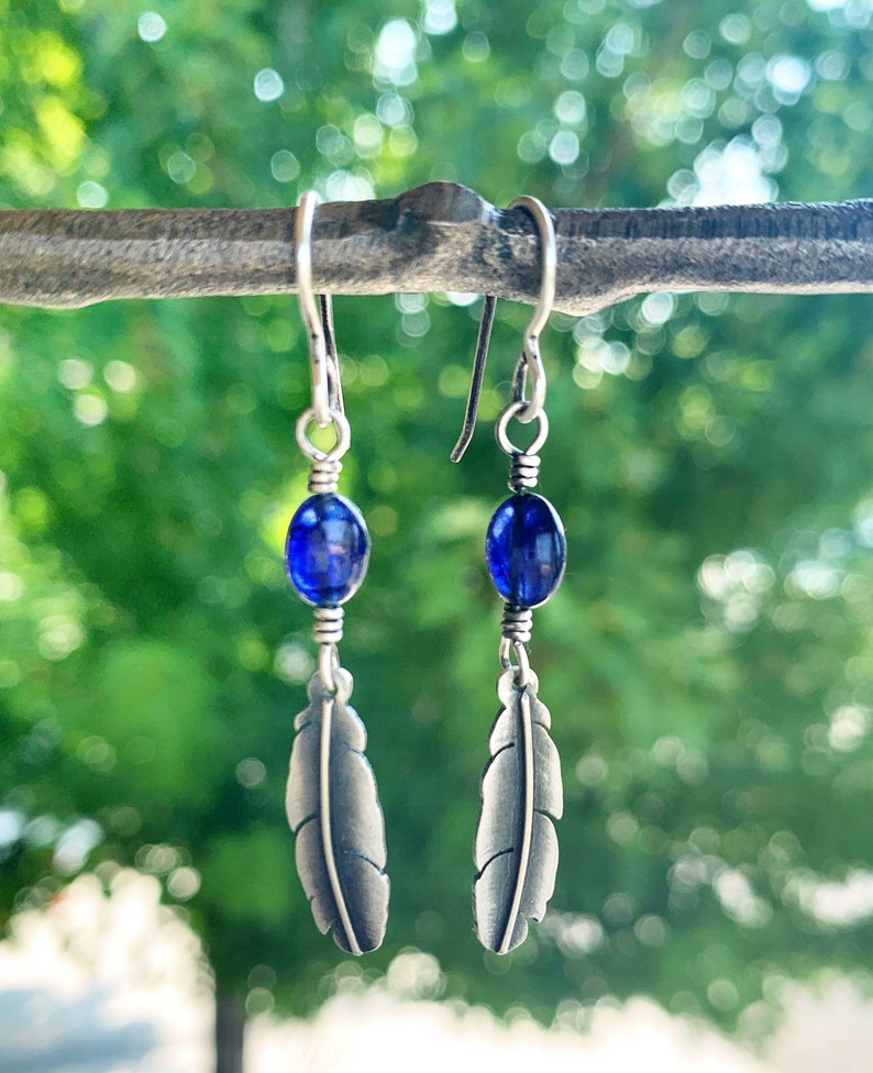 Feather Earrings with Sapphire stones  Handmade Sterling image 0