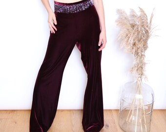 HIPPIE BOHO EMBROIDERY LACE UP CAPE OVERLAY WIDE LEG TROUSERS PANTS PURPLE 12 14