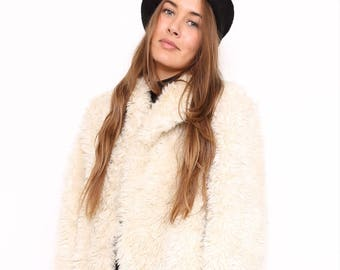 Vintage 90s Joseph Designer White Faux Fur Coat. Medium. UK 14/16.