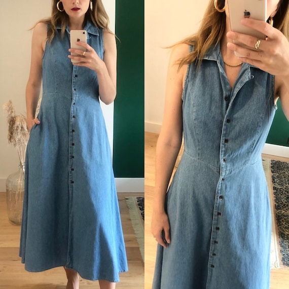 Vintage 90s Light Blue Denim Shirt Midi Dress UK 1