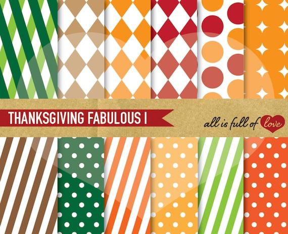 Fall Digital Paper Pack Autumn Patterns Thanksgiving Scrapbook Etsy
