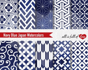Navy Blue Digital Paper Asian Watercolor Papers Japanese Patterns Blue Watercolor Blue Stationery Digital Scrapbooking Paper