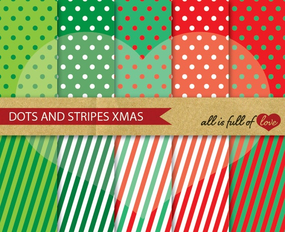 RED Christmas Digital Paper Pack XMAS Scrapbook Printable Background gift wrap sheets red digital graphics patterned card stock polka dots