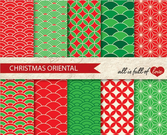 Christmas Patterns Red Green Clip Art Backgrounds Japan Etsy