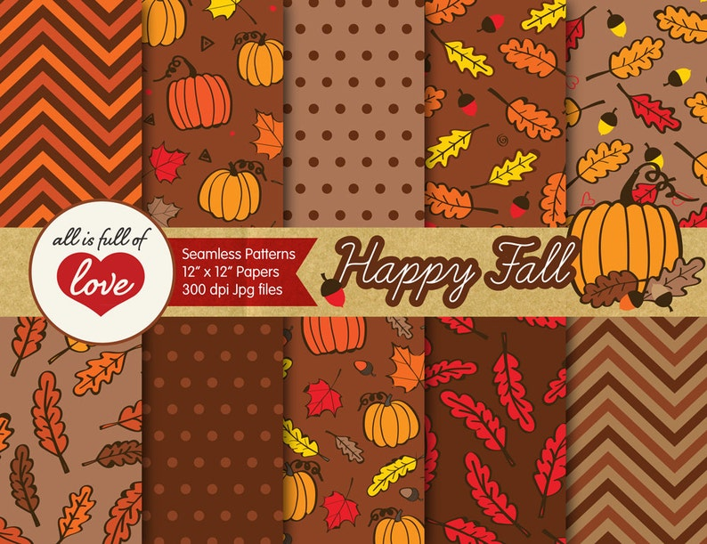 Fall Digital Paper Pack Autumn Background Tillable Patterns Etsy