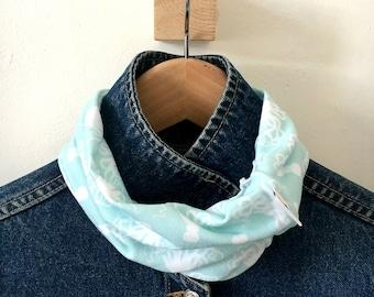 Neck warmer / buff - organic cotton knit scarf / knit scarf / octopus scarf / scarf / accessory / buff / blue / white / pattern
