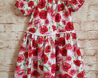 Handmade Boho Dress Age 6-7yrs White With Red Poppies Ric Rac Trim