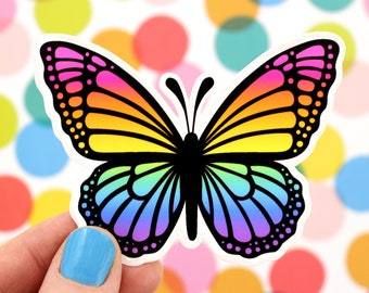 RAINBOW MONARCH Butterfly Vinyl Decal Sticker • Nature, Adorable Laptop Sticker, Gift, Car Decal, Water Bottle, Insect, Rainbow Wings