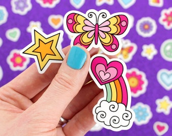 40+ MINI STICKERS Vinyl Decal Sticker Set • Butterfly, Rainbow, Stars, Hearts Adorable Laptop Stickers, Car Decal, Water Bottle Stickers