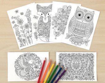 """Box of 12 COLORING CARDS  5"""" x 7"""" • Notebook Doodles Super Cute Animals Colorable Greeting Cards, Blank Inside, Adults Kids Tweens Card Pack"""