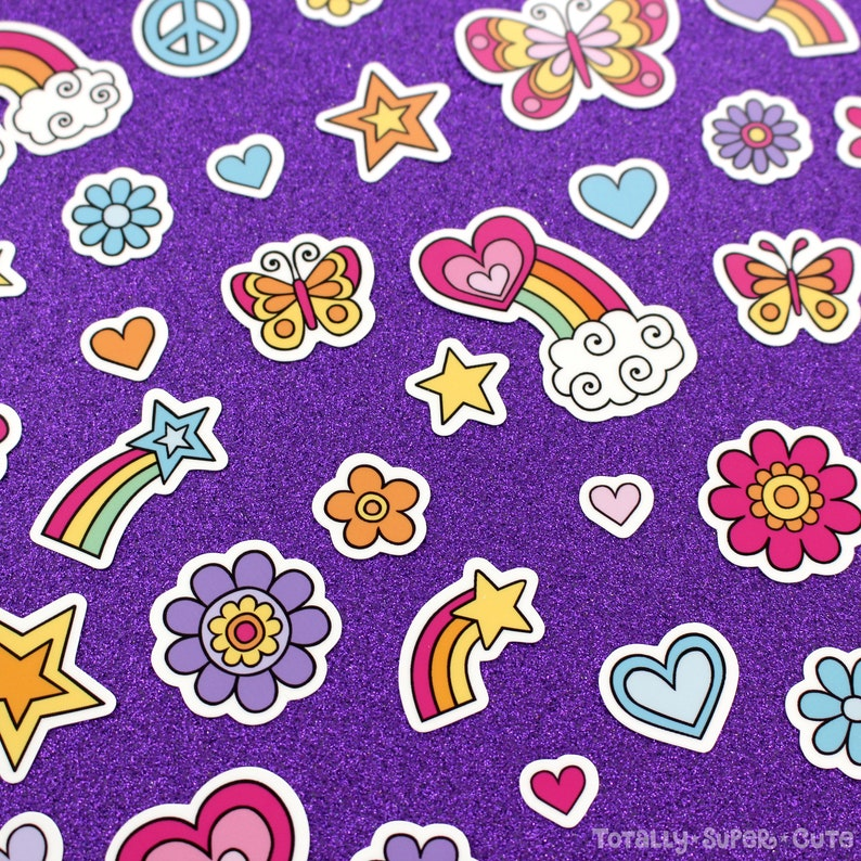 Car Decal Water Bottle Stickers Rainbow 40+ MINI STICKERS Vinyl Decal Sticker Set \u2022 Butterfly Hearts Adorable Laptop Stickers Stars