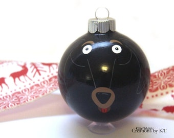 Dachshund Dog Christmas Ornament READY TO SHIP Glass Bauble Weenie Dog Weiner Dog Hand Painted Pet Memorial Pet Portrait Pet Loss Gift