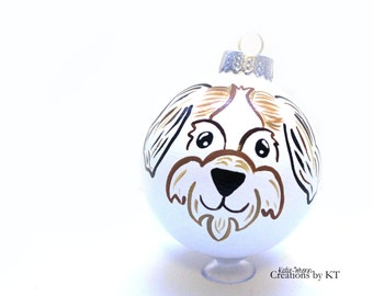 Shih Tzu Christmas Ornament READY TO SHIP Hand Painted Glass Bauble Pet Portrait Pet Painting Pet Loss Gift Pet Memorial Dog Mom