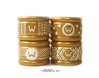 Monogram Napkin Rings MADE TO ORDER Gold Wedding Napkin Rings Personalized Initial Event Decor Table Decor Napkin Rings Wooden Hand Painted