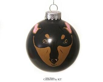 Min Pin Ornament MADE TO ORDER Hand Painted Glass Miniature Pinscher Dog Christmas Bauble Pet Portrait Pet Loss Gift Pet Memorial Pet Gift
