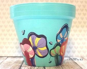 Mushroom Flower Pot Whimsical Cute Bugs Utensil Holder Makeup Brush Holder Desk Organizer