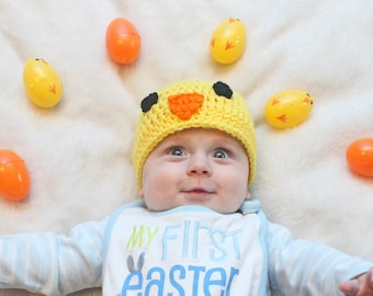 Yellow Easter Chick Hat Crochet Hat Chick Baby Shower Crochet Hat Baby Crochet Hat Kids Crochet Chick Easter Spring Hats Photography Props