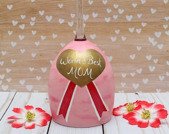 World's Best Mom Wine Glass Tea Light Candle Holder READY TO SHIP  Hand Painted Table Centerpiece Mother's Day Gold Heart Pink Award Ribbon