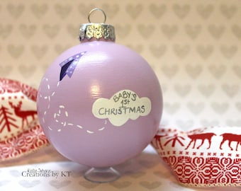 Baby's First Christmas Ornament READY TO SHIP Purple Lavender Paper Airplane Cloud Hand Painted Glass Bauble Baby Girl New Baby Baby Shower