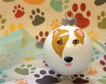 Custom Dog Ornament Pet Portrait MADE TO ORDER Hand Painted Glass Christmas Bauble Dog Art Pet Loss Gift Pet Memorial Dog Mom Dog Painting