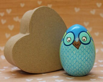 Owl Wooden Easter Egg Hand Painted READY TO SHIP Blue Woodland Animal Owl Decor Easter Decorations Basket Stuffer Home Decor Spring Decor