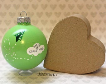 Baby's First Christmas Ornament READY TO SHIP Green Paper Airplane Cloud Hand Painted Glass Bauble New Baby Boy Gender Neutral Shower Gift
