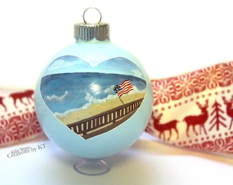 Custom Beach Lake Water Scene Ornament MADE TO ORDER Glass Christmas Bauble Special Place Beach Wedding Gift Lake House Decor