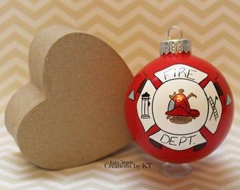 Fire Department Ornament READY TO SHIP Firefighter Fire Emblem Glass Christmas Bauble Hand Painted Fire Wife Girlfriend Wedding Fire Dept