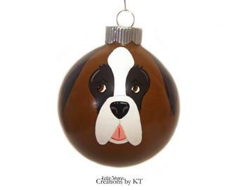 Saint Bernard Ornament MADE TO ORDER Christmas Glass Bauble Dog Ornament Hand Painted St Bernard Pet Portrait Pet Gift Pet Memorial Painting
