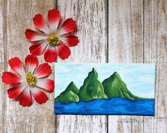 St Lucia Mountain Landscape Painting Mini Canvas READY TO SHIP Miniature Painting Acrylic Mountain Art Piton Mountains St Lucia Gift