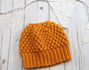 Crochet Messy Bun Beanie Golden Mustard Yellow READY TO SHIP Adult Women Crochet Hat Crochet Beanie for Women Crocheted Hats Messy Bun Hat