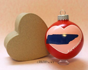 """Tennessee Christmas Ornament Glass READY to SHIP 2.25"""" TN Hand Painted Bauble Home is Where the Heart is Collection Tennessee Art State Art"""